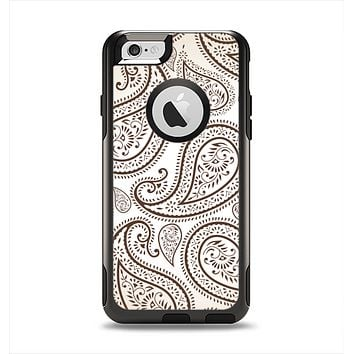 The Tan Highlighted Paisley Pattern Apple iPhone 6 Otterbox Commuter Case Skin Set