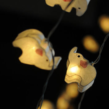 20 small baby elephant white lantern string light hand draw made 3 meter long hanging party living room bedroom night light gift kid teen