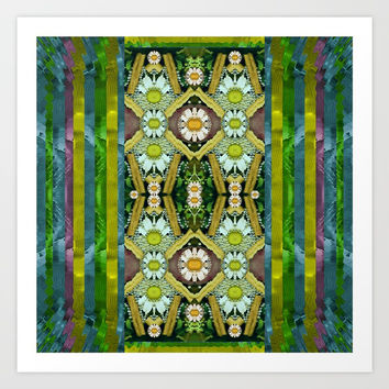 Bread sticks and fantasy flowers in a rainbow Art Print by Pepita Selles