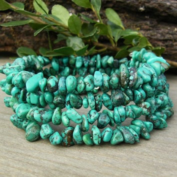 Genuine Turquoise Stone Bracelet, Sterling Silver Bead, Multi Strand Blue Beaded Memory Wire Coil Wrap, Southwest Style, Casual Gift Idea
