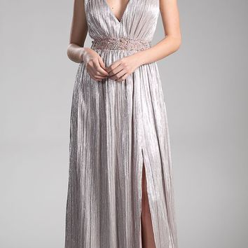 Blush Beaded Strap and Waist V-Neck Evening Gown with Slit