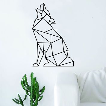 Geometric Wolf Howling Animal Design Decal Sticker Wall Vinyl Decor Art Living Room Bedroom Abstract Cool Teen