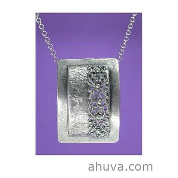 Israeli Jewelry - Framed Filigree Pendant