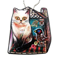 Kitty Cat in Front of A House with a Bird Shaped Illustrated Resin Pendant Necklace