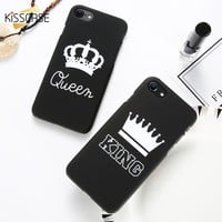 KISSCASE Fashion Couple Phone Case For iPhone 6 6s Plus 7 7 Plus Case Chic Black White Matte Hard Cover For iPhone X 5s 8 8 Plus