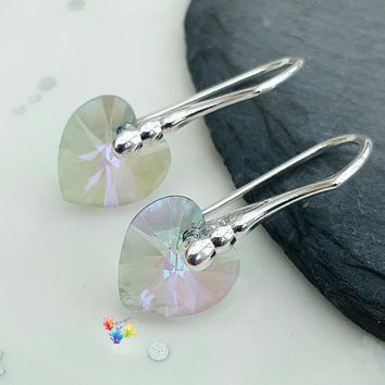 Paradise Shine Heart Earrings, Sterling Silver, grey, Gift for Her, Crystal, girlfriend, bridesmaid gift, sweetheart jewelry