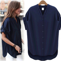 Little Stand V-neck Pure Color Short Sleeves Sexy Blouse