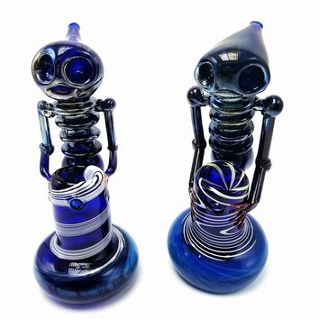 "6.5"" Blue Alien Fumed Bubbler"