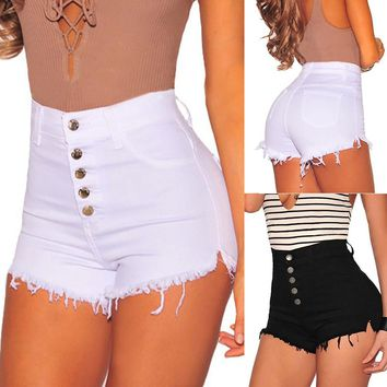 New Fashion Black White Denim Shorts Cotton High Waisted Button Pockets Skinny Women Shorts Summer Sexy Jeans Shorts