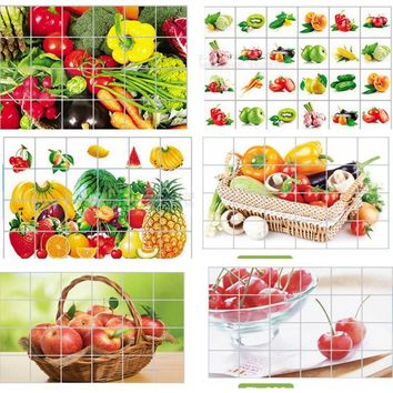 Kitchen aluminum foil waterproof decorative stickers home decor wall stickers food bread fruit juices milk