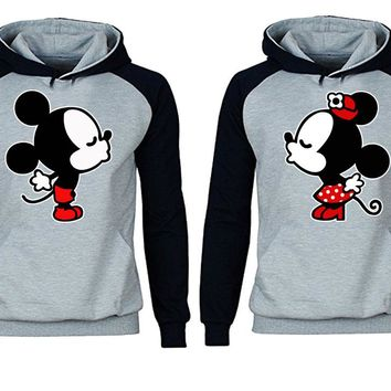 Mickey Minnie Kiss Couples Matching Love Set Contrast Colors Hoodie - Couples Hoodies - MM Couples