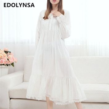 2017 Long Cotton Nightgown Princess Sleep Lounge Women White Home Dress Sleepshirts Female Nightdress Vintage Camisao #P165