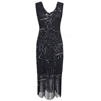 PrettyGuide Women's 1920s Gatsby Sequin Art Deco Fringed Cocktail Charleston Flapper Dress Special Occasion Party Dress