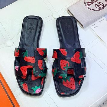 Hermes Fashion New Strawberry Print Shoes Slippers Women