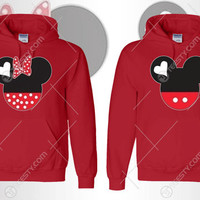 Minnie Mickey Mouse Hoodie Hoodies Mickey Mouse Minnie Mouse Clothing Cartoon Characters Couple Hoodies Matching Hoodies Relationship Love