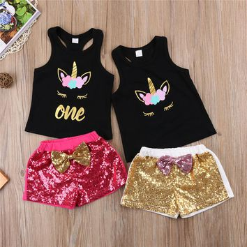 2018 Fashion Children Clothing Summer Toddler Kids Girl Sleeveless Unicorn Tops+Sequins Short Pants Bebes Baby Girls Clothes Set