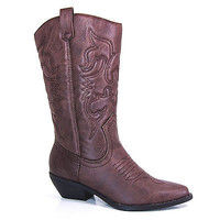 Reno Cowboy Cowgirl Western Leatherette Stitch Detail Mid-Calf High Boots