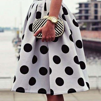 White Polka Dotted Print High-Waist Tutu Skirt
