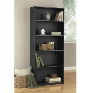 Mainstays 5-Shelf Wood Bookcase, Set of 2, (Mix and Match) - Walmart.com