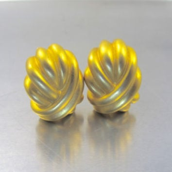 Vintage GIVENCHY Earrings, Gold Matte Chunky Clip On Earrings, Statement Haute Couture Runway Givenchy Designer Jewelry