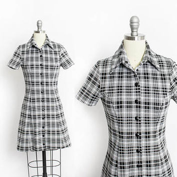 Vintage Betsey Johnson Dress - 1990s Plaid Knit Black & White Mini - Small S