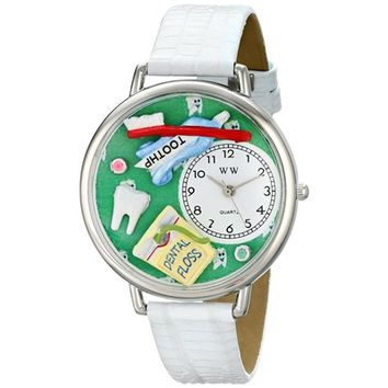 SheilaShrubs.com: Unisex Dental Assistant White Leather Watch U-0620032 by Whimsical Watches: Watches
