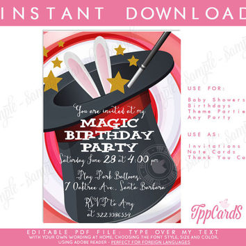 Magic Party Invitation - INSTANT DOWNLOAD - Editable Birthday Party PDF file you personalize at home with Adobe Reader-autofill enabled