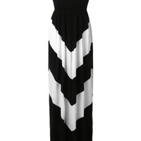 LE3NO Womens Boho Chevron Striped Strapless Maxi Dress (CLEARANCE)