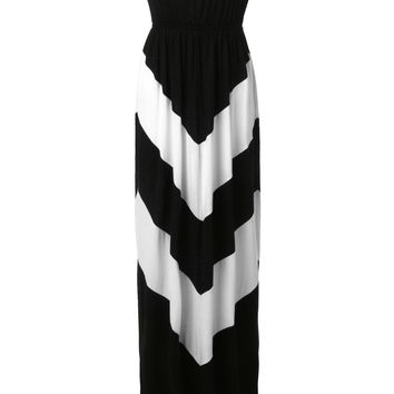 LE3NO Womens Boho Chevron Striped Strapless Maxi Dress