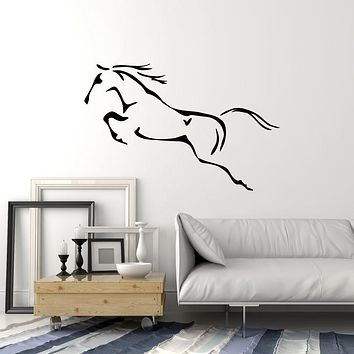 Vinyl Wall Decal Galloping Abstract Horse Beautiful Animals Stickers Mural (g743)