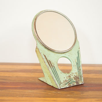 Vintage Art Deco Green Hollywood Mirror