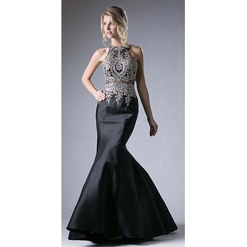 Embroidered Bodice Mermaid Prom Gown Cut Out Back Black