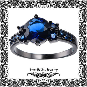 Gothic Engagement Ring | Black Engagement Ring | Edgy 2Ct Sapphire Blue Black Gold Filled Ring | Size 6 7 8 9 10 #111-B