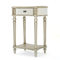 Kiki Silver Finished Mirrored Side Table with Faux Wood Frame