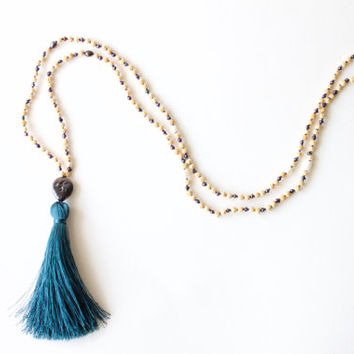 Teardrops of the Moon Goddess Mala - 216 Hand-Knotted Mala with Rudrani Seeds, Dark Purple and White Freshwater Pearls, and Silk Tassel