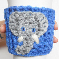 Little Elephant Crochet Coffee Cozy, Blue and Grey, MADE TO ORDER.