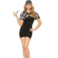Elegant Ladies Black Bandeau Dress Sassy Detective Costume Halloween Costume