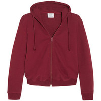 Vetements Vetements - Cropped Embroidered Cotton-blend Hooded Sweatshirt - Claret
