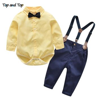 Top and Top Autumn Kids Boys Clothes Set Baby Boy Gentleman Outfit Long Sleeve Romper Shirt with Bow Tie + Suspenders Trousers