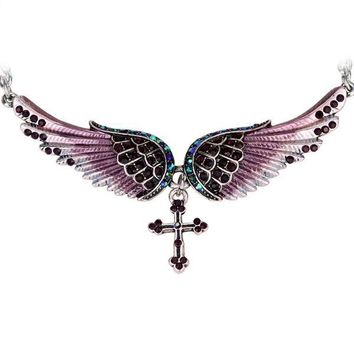 Angel Wing Cross Necklace Women Biker Jewelry Gifts W/ Crystal Adjustable