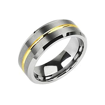 Energy - Solid Flat Band with Golden Groove Brushed Silver and Gold Tungsten Carbide Ring