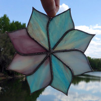 Ready to Ship Purple/Blue Pinwheel Stained Glass Sun Catcher