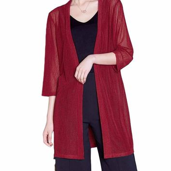Women's Burgundy/Red Lightweight Long 3/4 Sleeve Cardigan Layering Coverup