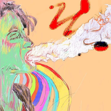 Blow Digital Drawing Art Print Free Shipping Smoking Woman Graffiti Style Drawing From The Artist Gifts For Him Man Cave Art Poster