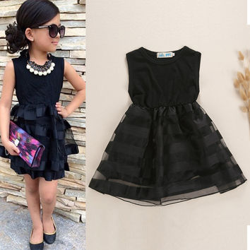 Baby Girls Prince Above Knee Cute Dress Lolita Style Dresses O-neck Vestido Party