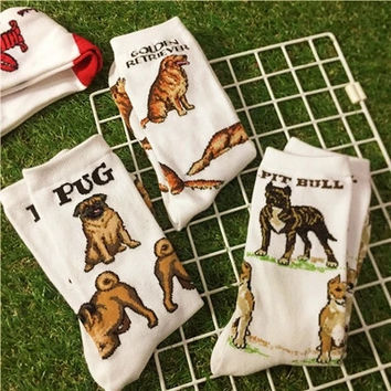 Foot 22-27cm Animal Crew Socks Thick Beagle Lab Horse Poodle Penguin Golden Retriever Pit Bull Border Collie Rottweiler Scottie