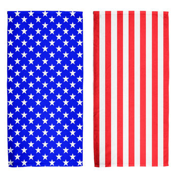 4th Of July American Flag All Over Beach Towel Set