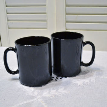 Vintage Black Glass Mug Cup Set of 2 Arcoroc ARC  France PanchosPorch