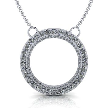 Grande Double Circle Pendant - Moissanite Circle Necklace - Diamond Circle Necklace 1.07 ctw