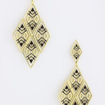 Black & Gold Kite Pattern Earrings